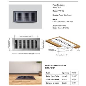 Cast-Aluminum-Floor-Register-4″-X-10″-VR-102