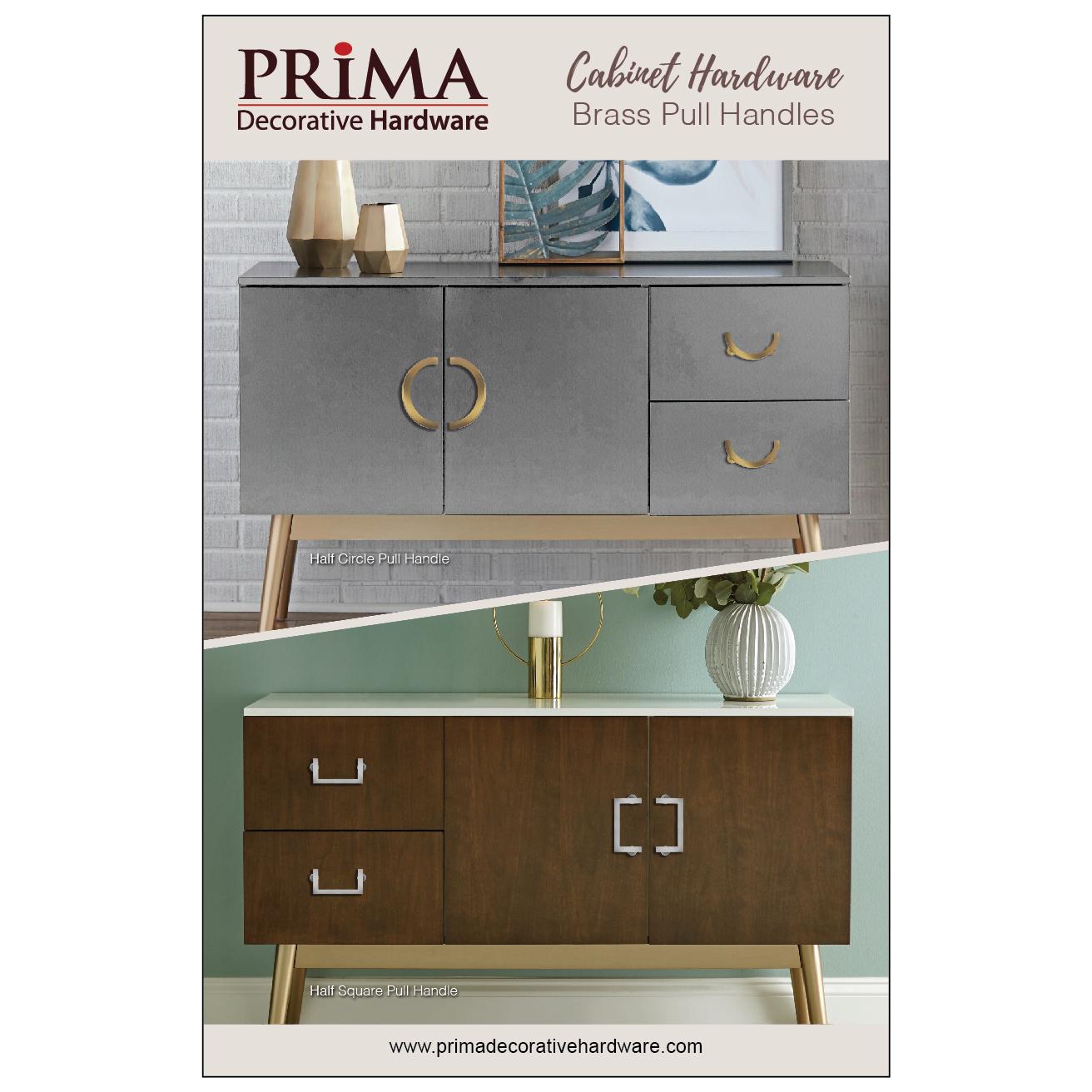 Cabinet Handle Pull Half Moon 3 Inch Prima Decorative Hardware